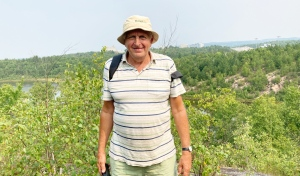 Peter Beckett, a restoration ecologist, was one of the guides Thursday on the walk of the Laurentian University greenspace. (Alana Everson/CTV News)