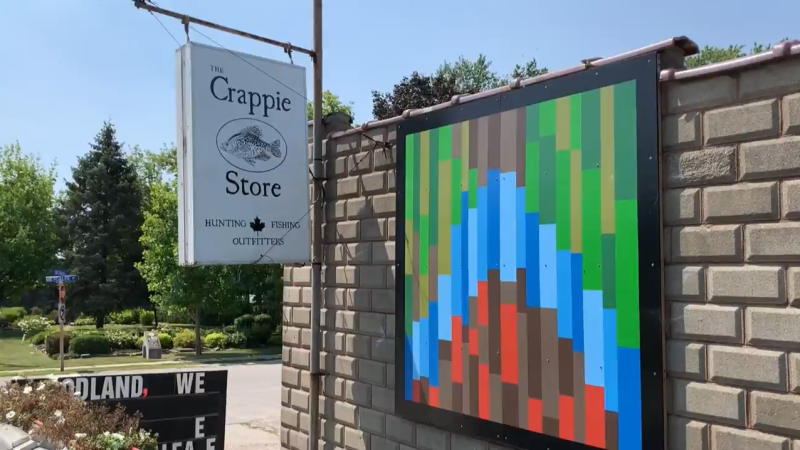 A sign for The Crappie Store in Dresden, Ont. is seen Thursday, Aug. 5, 2021. (Chris Campbell / CTV Windsor)