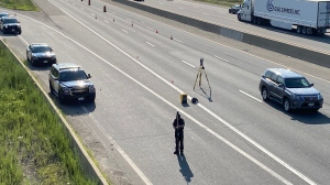 Ontario Provincial Police are investigating a fatal motorcycle collision on Highway 401 near Guelph. (CTV Kitchener)