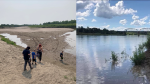 The North Saskatchewan River is pictured in 2019, right, and this year, left.  (Courtesy Kailee Marie Angel Fair/Darrelynn Fair)