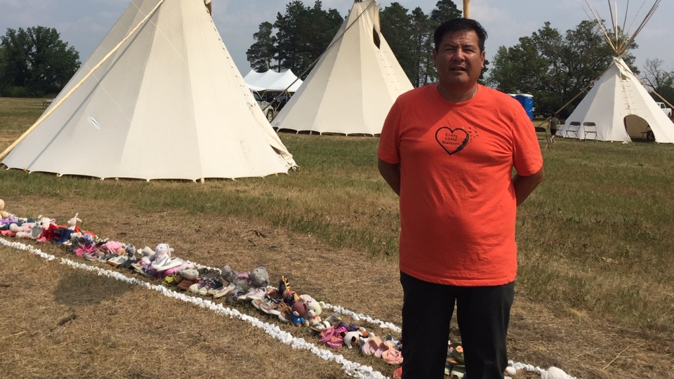 Delano Mike, organizer of the retreat at the site of St. Michael's Residential School south of Duck Lake. (Lisa Risom/CTV Prince Albert)