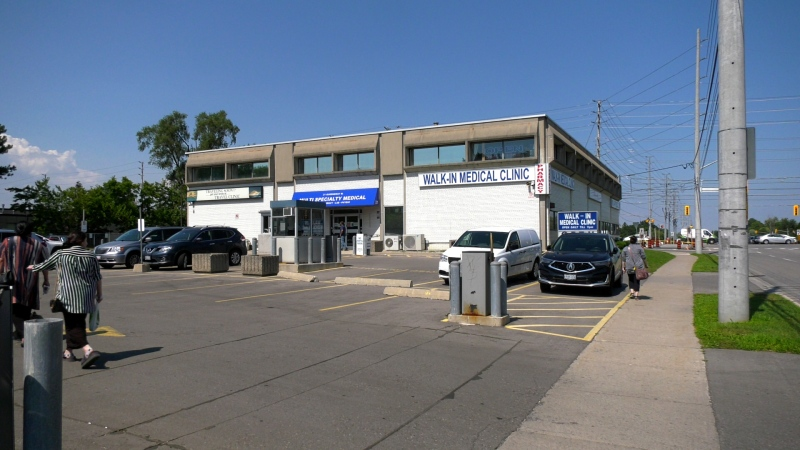 A walk-in clinic at Hurontario St. and Queensway. (Jon Woodward/CTV News Toronto)
