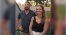 Zack and Jillian Best speak a day after her swim across Lake Ontario in London, Ont. on Thursday, Aug. 5, 2021. (Bryan Bicknell / CTV News)