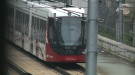 An LRT train parked near Tunney's Pasture station on Monday morning after one of its axles became dislodged from the track. (Jim O'Grady/CTV News Ottawa)