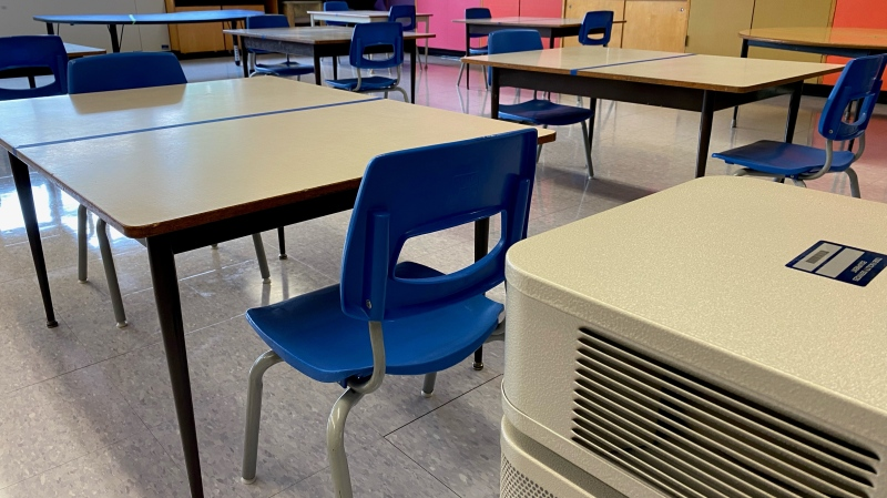 The TDSB provides a look into what kind of ventilation systems it will use in their classrooms in the fall. (Natalie Johnson/CTV News Toronto)