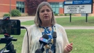 Opposition Leader Andrea Horwath speaks in Brights Grove, Ont. on Tuesday, Aug. 10, 2021. (Brent Lale / CTV News)