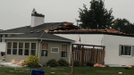 Home experiences damage to roof following thunderstorm in Cottam, Ont. on Wednesday, Aug. 11, 2021. (source: Tricia Renaud/Cottam Facebook Group)