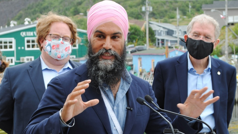 NDP Leader Jagmeet Singh makes his platform announcement in St. John's, N.L., on Thursday, August 12, 2021. THE CANADIAN PRESS/Sarah Smellie