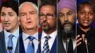Justin Trudeau, Erin O'Toole, Yves-François Blanchet, Jagmeet Singh, Annamie Paul vertical photos. Election 2021