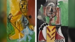 Pablo Picasso's Homme et enfant, left, painted July 4, 1969, and Buste d'homme, painted Sept. 10, 1969. (© 2021 estate of Pablo Picasso/Artists Rights Society, New York. Courtesy Sotheby's and MGM Resorts)