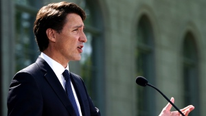 Liberal Leader Justin Trudeau speaks to media following a meeting with Gov. Gen. Mary Simon at Rideau Hall in Ottawa, on Sunday, Aug. 15, 2021. THE CANADIAN PRESS/Sean Kilpatrick