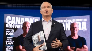 Conservative Leader Erin O'Toole reveals his party's recovery plan as he campaigns Monday, August 16, 2021 in Ottawa. Canadians will vote in a federal election Sept. 20th. THE CANADIAN PRESS/Ryan Remiorz