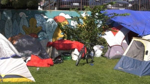 Tent city set up downtown in Sudbury's Memorial Park. Aug. 16/21 (Molly Frommer/CTV Northern Ontario)