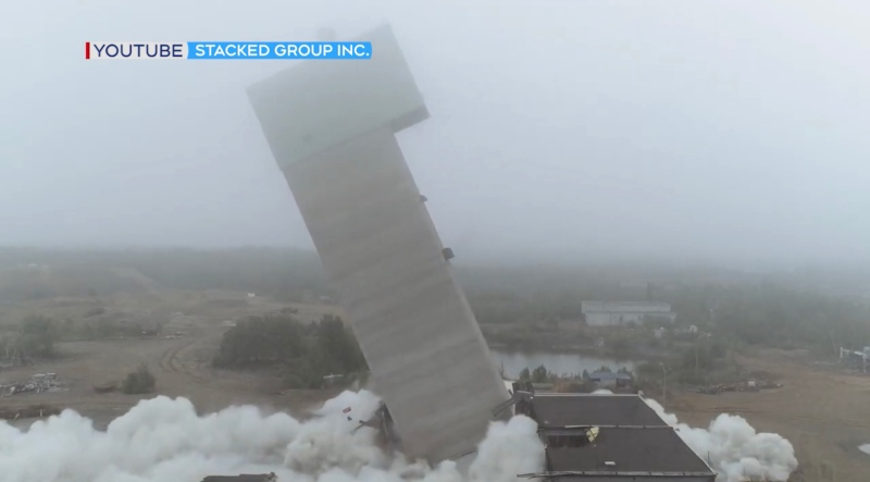 Headframe coming down at Lockerby Mine site (Stacked Group)
