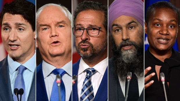 Justin Trudeau, Erin O'Toole, Yves-François Blanchet, Jagmeet Singh and Annamie Paul are pictured in this composite image.