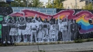 """The word """"Kebequoi?"""" is scrawled across a mural honoring the Black Lives Matter movement. (Samuel Pouliot)"""