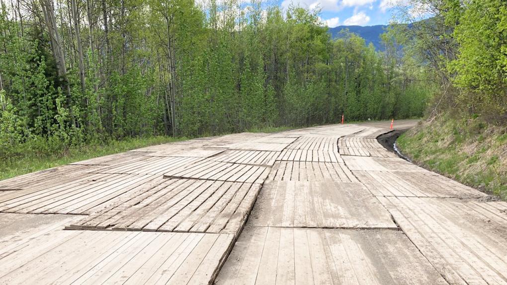 Telegraph Creek road with rig mats.