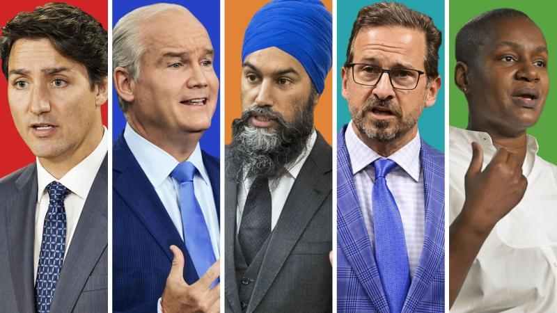 Justin Trudeau, Erin O'Toole, Jagmeet Singh, Yves-Francois Blanchet, Annamie Paul