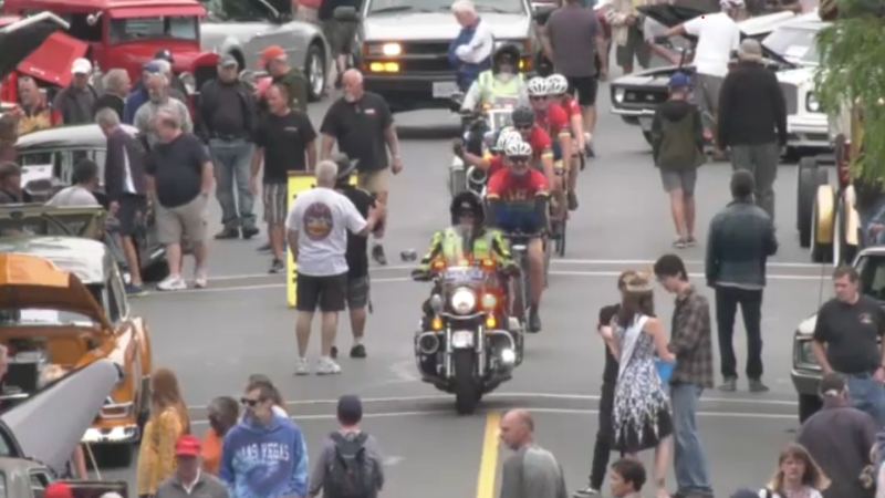 First responders geared up and pedaled through the Ladysmith Show and Shine car show to raise awareness about the 2021 Tour de Rock. (CTV)