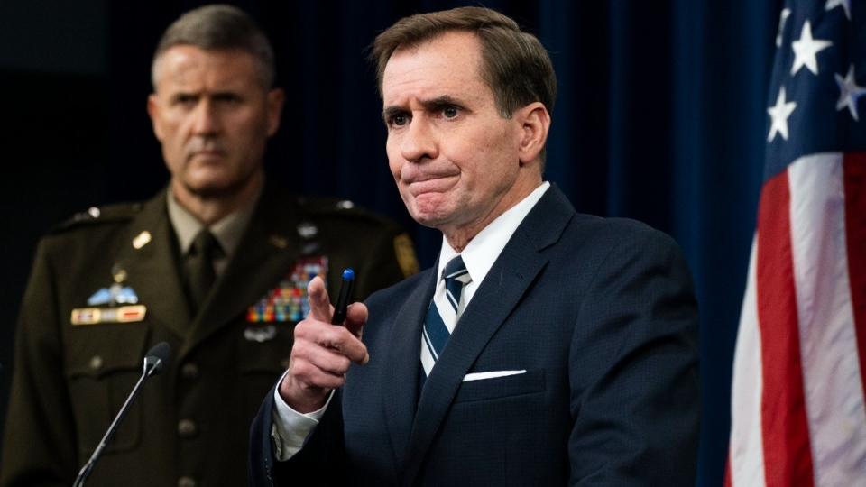 Pentagon spokesman John Kirby, right