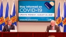 Nova Scotia Premier-designate Tim Houston and chief medical officer of health Dr. Robert Strang provide an update on COVID-19 during a news conference in Halifax on Aug. 23, 2021. (Photo via Communications Nova Scotia)