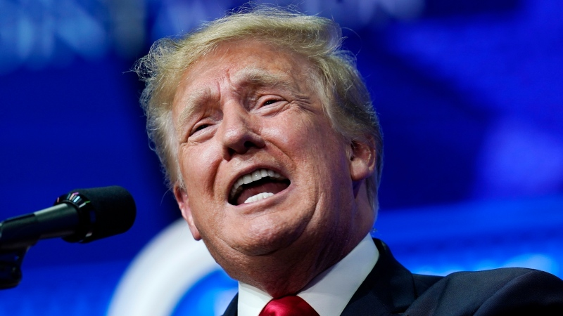 In this Saturday, July 24, 2021 file photo, former U.S. President Donald Trump speaks to supporters at a Turning Point Action gathering in Phoenix. (AP Photo/Ross D. Franklin, File)
