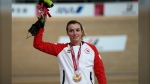 Canada's Keely Shaw poses with the bronze medal during the victory ceremony for the Cycling Track Women's C4 3000m Individual Pursuit at the Tokyo 2020 Paralympic Games, on Aug. 25, 2021. (Shuji Kajiyama / AP)