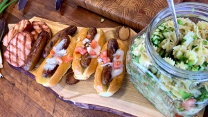 Grilled Smoked Pork Loin, Donair Sausages