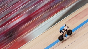 Canada's Tristen Chernove competes in the Track Cycling Men's C1 3000m Individual Pursuit during the Tokyo 2020 Paralympic Games, on Aug. 26, 2021. (Thomas Lovelock for OIS via AP)