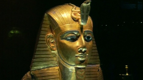 This golden sarcophagus is part of the King Tutankhamen exhibit at the Art Gallery of Ontario.