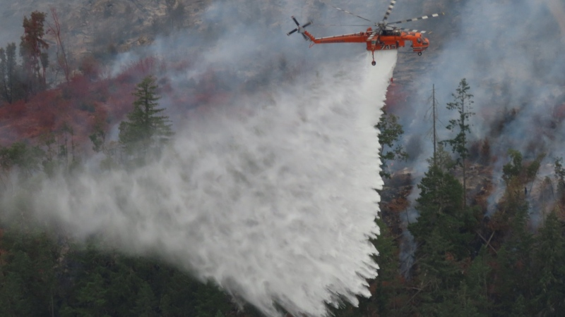 Crews battle the Mt. Hayes Fire near Ladysmith, B.C. As of Aug. 22, 2021, the fire was classified as being held. (BC Wildfire Service/Twitter)