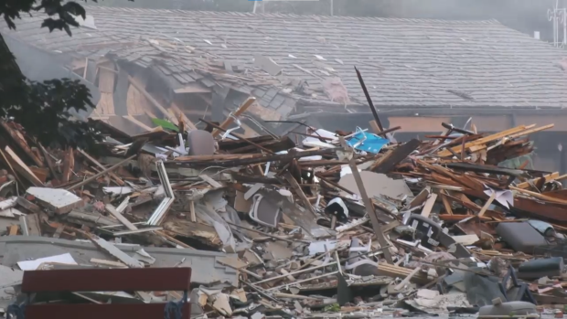 Damage and emergency crews on scene after an explosion in Wheatley, Ont. on Thursday, Aug. 26, 2021. (Angelo Aversa / CTV Windsor)