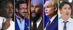 Green Party Leader Annamie Paul, Bloc Quebecois Leader Yves-Francois Blanchet, NDP Leader Jagmeet Singh, Conservative Leader Erin O'Toole and Liberal Leader Justin Trudeau are seen in this composite image. (Images via The Canadian Press)