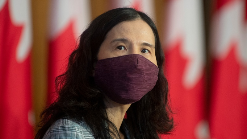 Chief Public Health Officer Theresa Tam looks on at the start of a technical briefing on the COVID-19 pandemic in Canada, Jan. 15, 2021, in Ottawa. THE CANADIAN PRESS/Adrian Wyld