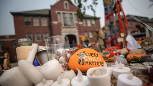 A rock with the message 'Every Child Matters' painted on it sits at a memorial outside the former Kamloops Indian Residential School, in Kamloops, B.C., on Thursday, July 15, 2021. THE CANADIAN PRESS/Darryl Dyck