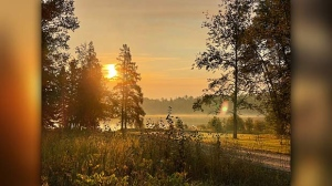 Misty morning sunrise at Twin Lakes, MB. Photo by Heidi Mote.