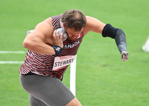 Greg Stewart, from Kamloops, B.C., competes in the men's shot put event at the Tokyo Paralympics on Sept. 1, 2021. (Scott Grant/Canadian Paralympic Committee)
