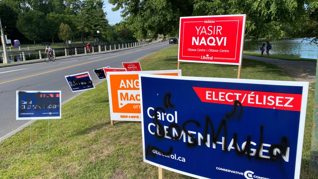 Vandalized campaign signs in Ottawa
