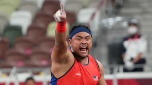 Muhammad Ziyad Zolkefli of Malaysia after competing in the men's shot put F20 final during the Tokyo 2020 Paralympics Games, on Aug. 31, 2021. (Eugene Hoshiko / AP)