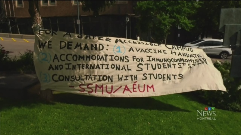 McGill students stage a demonstration to demand that the university make vaccinations against COVID-19 mandatory.