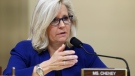 Rep. Liz Cheney, R-Wyo., speaks during the House select committee hearing on the Jan. 6 attack on Capitol Hill in Washington, on July 27, 2021. (Jim Lo Scalzo / Pool via AP)