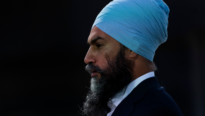 New Democratic leader Jagmeet Singh listens to a question from the media during a campaign stop, Wednesday, September 1, 2021 in Montreal. THE CANADIAN PRESS/Adrian Wyld