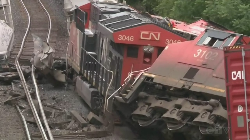 Twisted metal, overturned train cars and uplifted rail lines are seen in this photo of the aftermath of the train derailment in Prescott, Ont. on F=Thursday, Sept. 2, 2021. (Ian Urbach/CTV News)