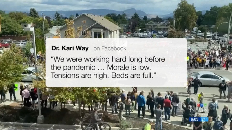Health-care workers angry over protests