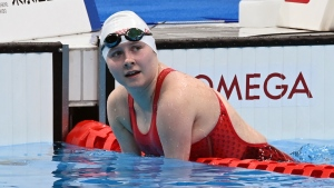 Canadian Swimmer Danielle Dorris wins gold in the women's 50m butterfly at the 2020 Paralympic Games in Tokyo, Japan on Sept. 3, 2021.  (Scott Grant/Canadian Paralympic Committee)