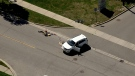 The scene of a fatal collision involving a 10-year-old girl on Pleasant Ridge Avenue in Vaughan is pictured September 1, 2021.