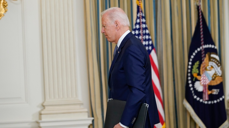U.S. President Joe Biden leaves after speaking from the State Dining Room of the White House in Washington, Friday, Sept. 3, 2021, on the August jobs report. (AP Photo/Susan Walsh)