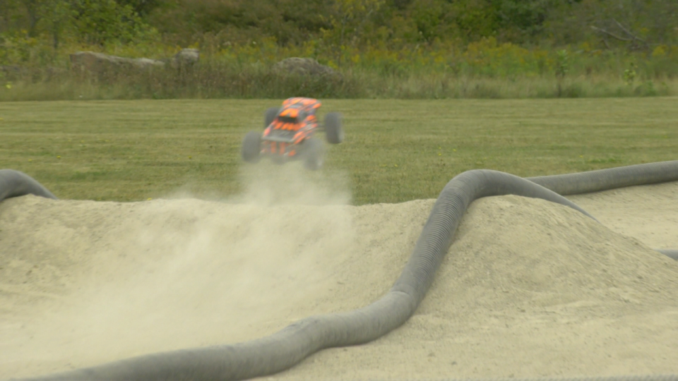 RC car going over a jump