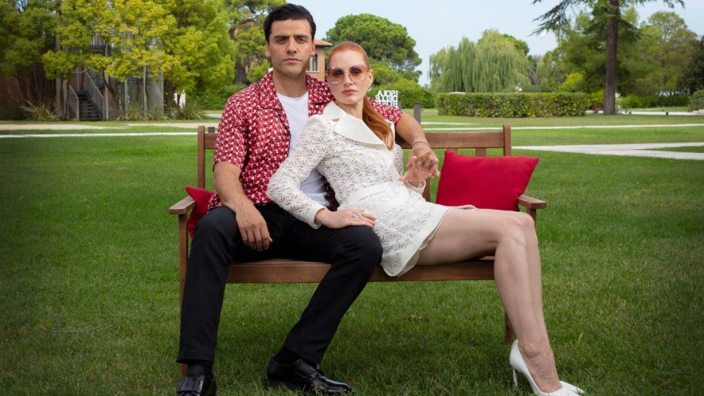 Oscar Isaac, left, and Jessica Chastain in Venice