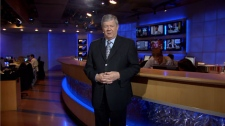 CTV British Columbia anchor Bill Good stands in front of the newly designed news desk before the high definition launch on November 23, 2009.